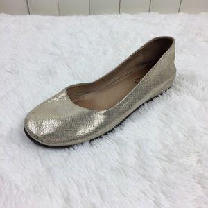 Anthro FS/NY Gold Italian Metallic Ballet Flat 8.5